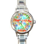 Colorful Mosaic  Round Italian Charm Watch Front