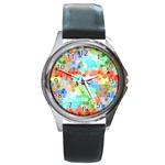 Colorful Mosaic  Round Metal Watch Front