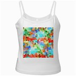 Colorful Mosaic  White Spaghetti Tank Front