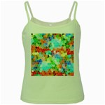 Colorful Mosaic  Green Spaghetti Tank Front