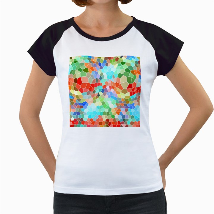Colorful Mosaic  Women s Cap Sleeve T