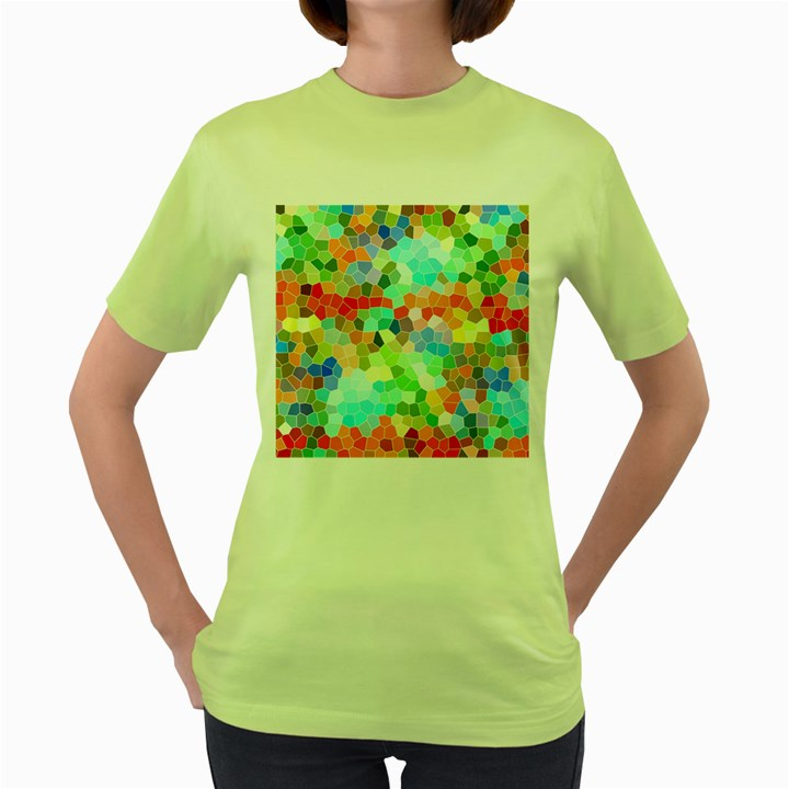 Colorful Mosaic  Women s Green T-Shirt