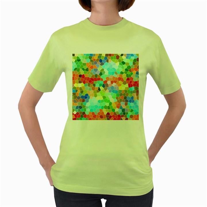 Colorful Mosaic  Women s Green T-Shirt