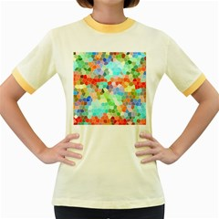 Colorful Mosaic  Women s Fitted Ringer T Shirts