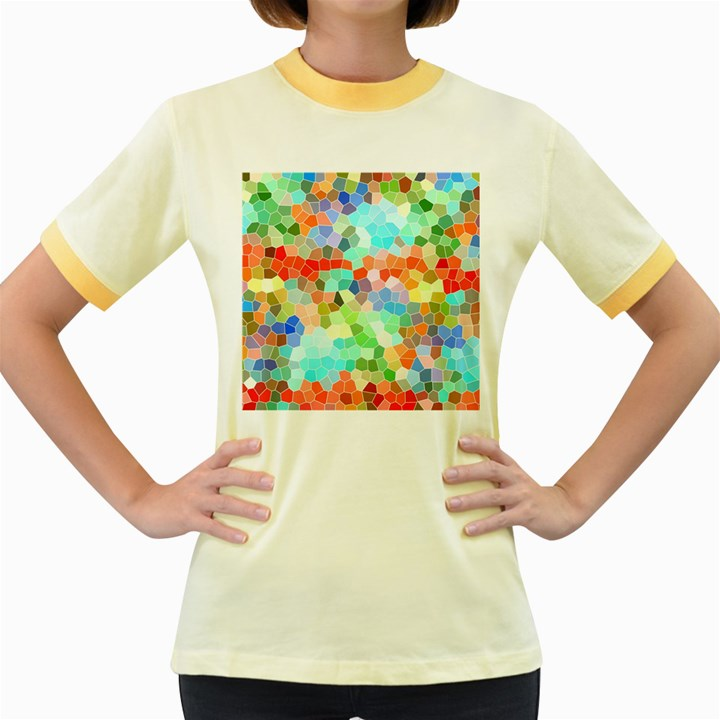 Colorful Mosaic  Women s Fitted Ringer T-Shirts