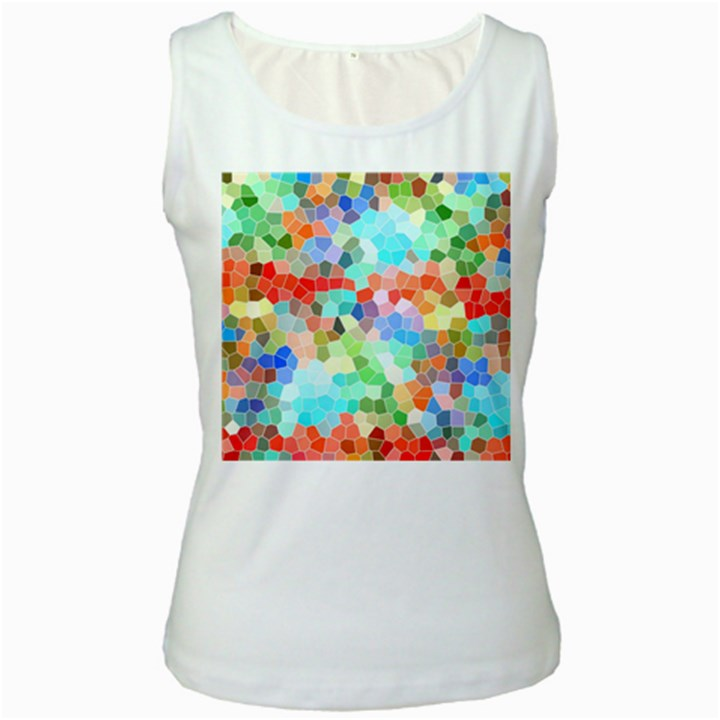 Colorful Mosaic  Women s White Tank Top
