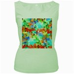 Colorful Mosaic  Women s Green Tank Top Front