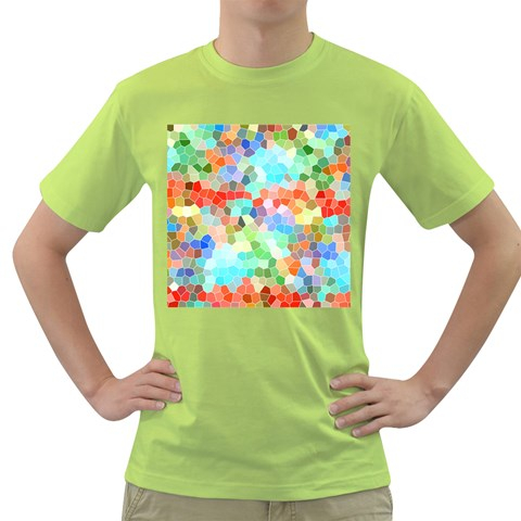 Colorful Mosaic  Green T-Shirt