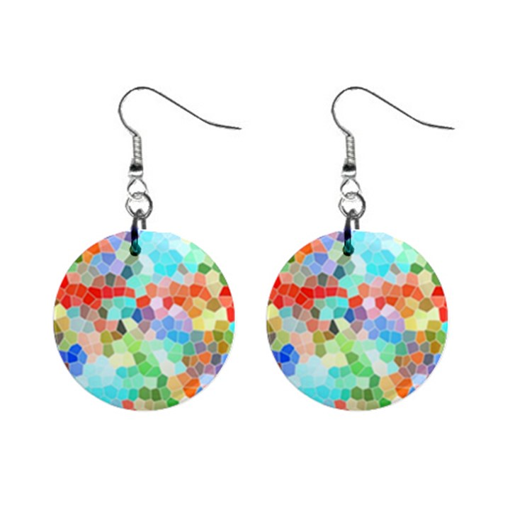 Colorful Mosaic  Mini Button Earrings