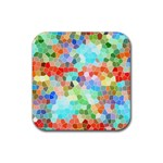 Colorful Mosaic  Rubber Coaster (Square)  Front