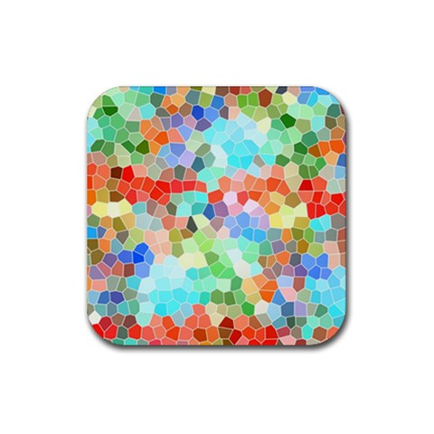 Colorful Mosaic  Rubber Square Coaster (4 pack)