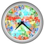 Colorful Mosaic  Wall Clocks (Silver)  Front