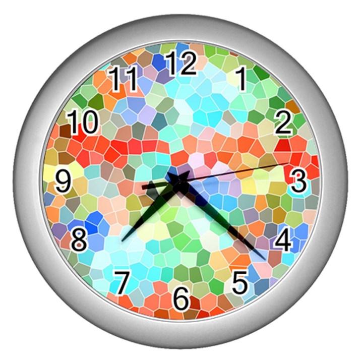 Colorful Mosaic  Wall Clocks (Silver)