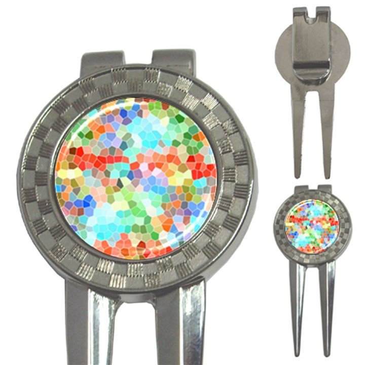 Colorful Mosaic  3-in-1 Golf Divots