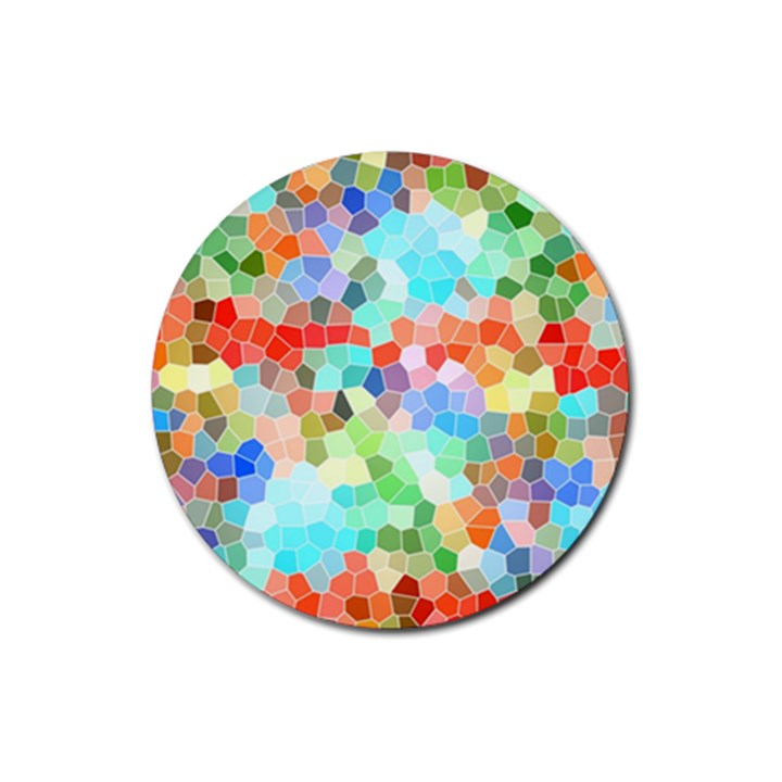 Colorful Mosaic  Rubber Coaster (Round)