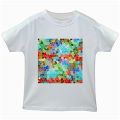 Colorful Mosaic  Kids White T Shirts