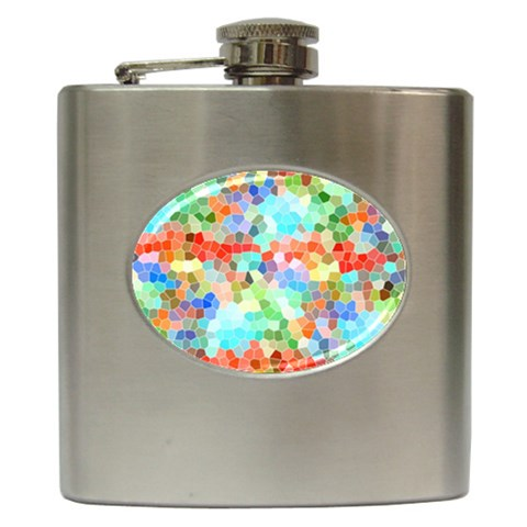 Colorful Mosaic  Hip Flask (6 oz)