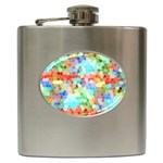 Colorful Mosaic  Hip Flask (6 oz) Front