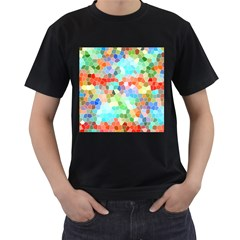 Colorful Mosaic  Men s T Shirt (black) (two Sided)