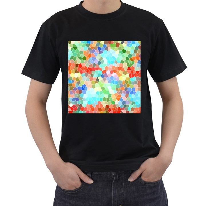 Colorful Mosaic  Men s T-Shirt (Black) (Two Sided)
