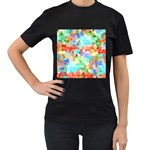 Colorful Mosaic  Women s T-Shirt (Black) (Two Sided) Front