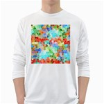 Colorful Mosaic  White Long Sleeve T-Shirts Front