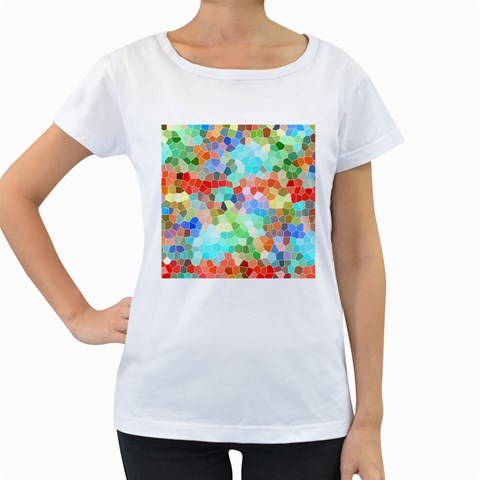 Colorful Mosaic  Women s Loose-Fit T-Shirt (White)