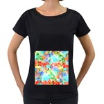 Colorful Mosaic  Women s Loose-Fit T-Shirt (Black) Front