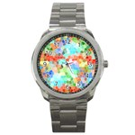 Colorful Mosaic  Sport Metal Watch Front