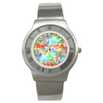 Colorful Mosaic  Stainless Steel Watch Front