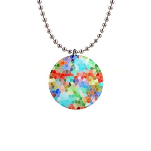 Colorful Mosaic  Button Necklaces