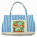 Colorful Mosaic  Striped Blue Tote Bag Front