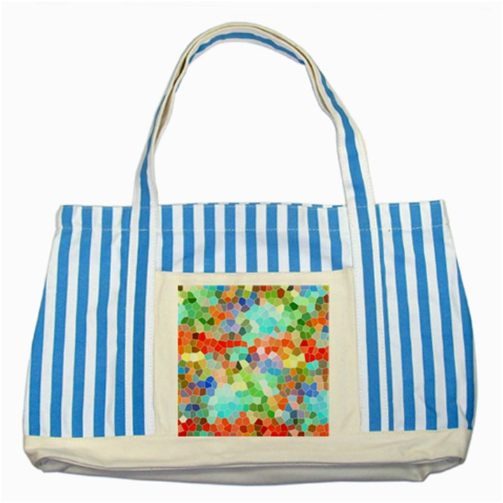 Colorful Mosaic  Striped Blue Tote Bag