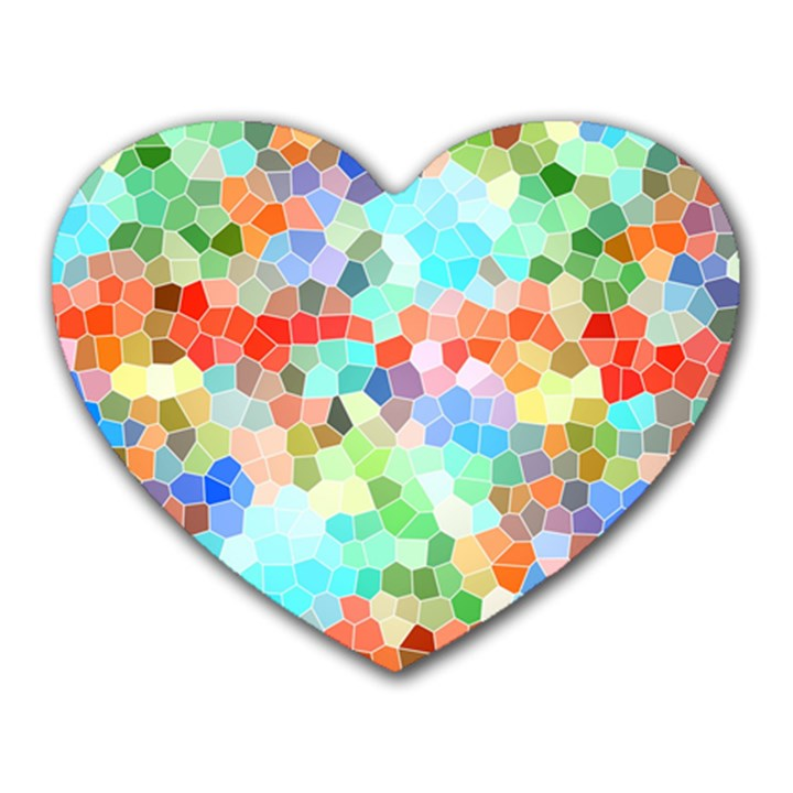 Colorful Mosaic  Heart Mousepads