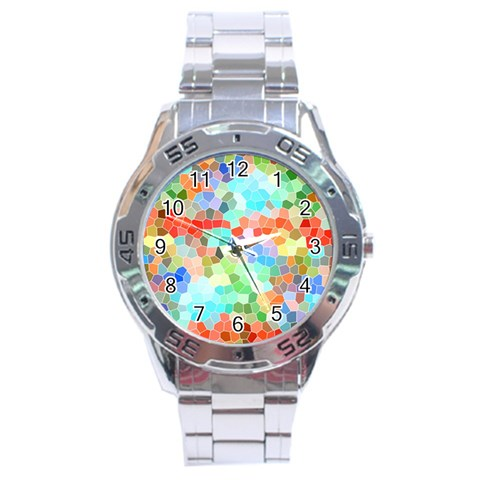 Colorful Mosaic  Stainless Steel Analogue Watch