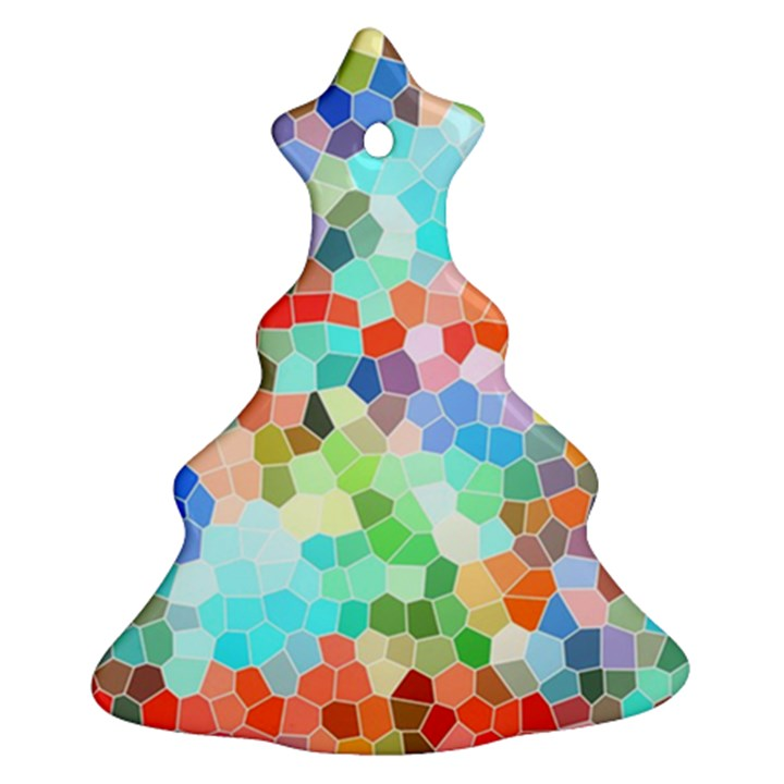 Colorful Mosaic  Christmas Tree Ornament (2 Sides)