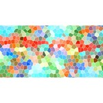 Colorful Mosaic  Twin Hearts 3D Greeting Card (8x4) Back
