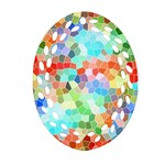Colorful Mosaic  Oval Filigree Ornament (2-Side)  Front