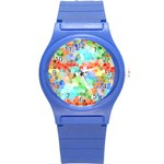 Colorful Mosaic  Round Plastic Sport Watch (S) Front