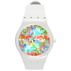 Colorful Mosaic  Round Plastic Sport Watch (M)