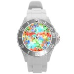 Colorful Mosaic  Round Plastic Sport Watch (L) Front