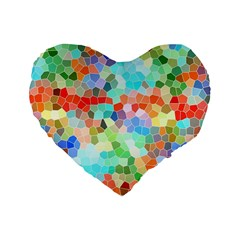 Colorful Mosaic  Standard 16  Premium Heart Shape Cushions