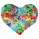 Colorful Mosaic  Large 19  Premium Heart Shape Cushions Front
