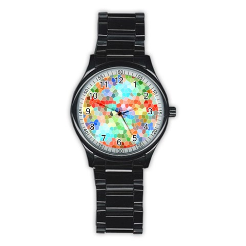 Colorful Mosaic  Stainless Steel Round Watch