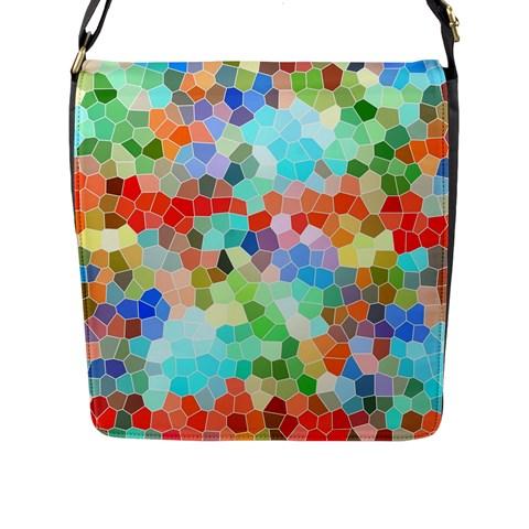 Colorful Mosaic  Flap Messenger Bag (L)