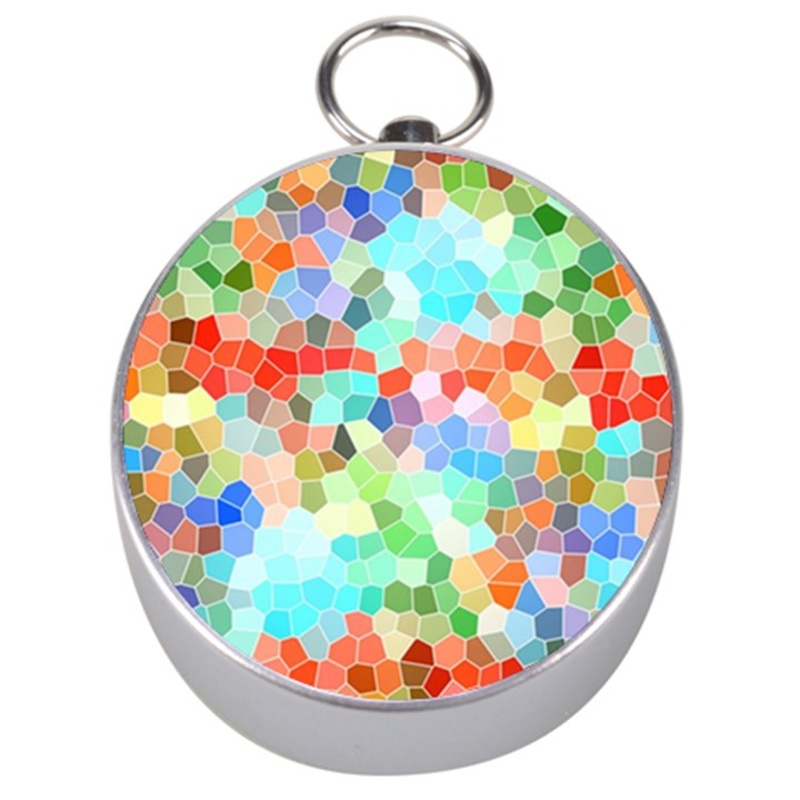 Colorful Mosaic  Silver Compasses