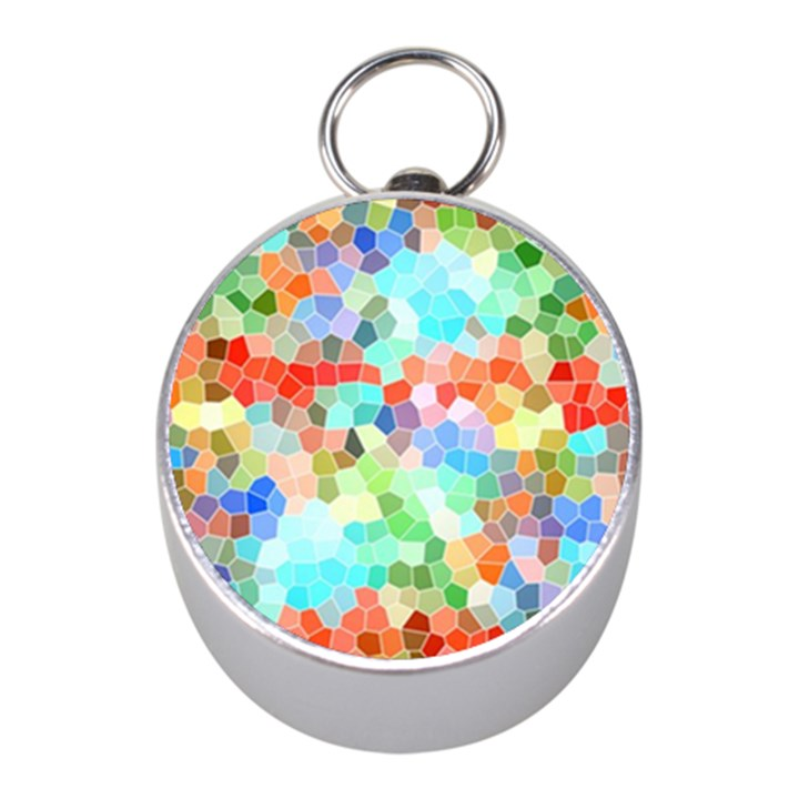 Colorful Mosaic  Mini Silver Compasses