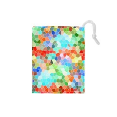 Colorful Mosaic  Drawstring Pouches (Small)
