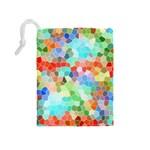Colorful Mosaic  Drawstring Pouches (Medium)  Back