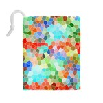 Colorful Mosaic  Drawstring Pouches (Large)  Back